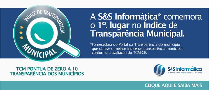 A S&S Informática comemora o 1º. lugar no Índice de Transparência Municipal.
